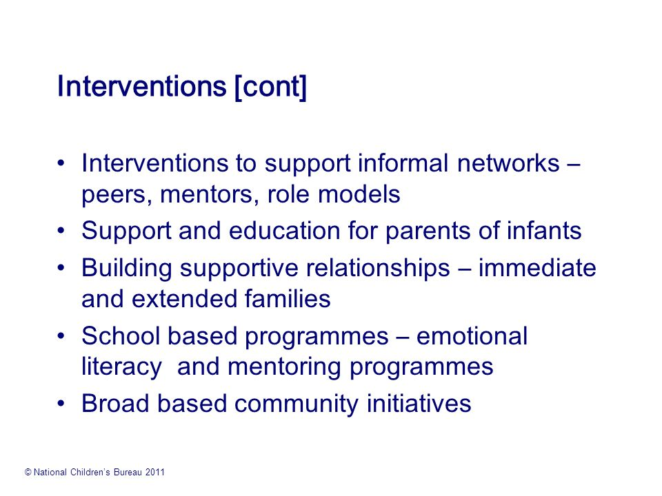 role focused interventions 1) the role of positive interactional and parenting practices in shaping social   and 2) specific family-focused strategies and interventions that are effective in.